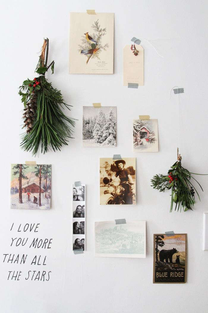 """Before Christmas trees caught on, the Irish traditionally hung mistletoe, ivy, and holly (considered a """"noble"""" wood) to ward off evil spirits. Cuttings are widely available at floral shops, tree lots, and even grocery stores; tie them into swags, set them in vases, or hang tiny bundles on a wall, as seen inDIY: Holiday Decor for Small Spaces."""