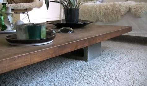 Above My Own Coffee Table In Mill Valley California Made From A Walnut Drafting Top And Four Concrete Blocks