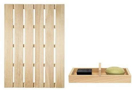 above l large 295 by inches hinoki wood bath mat 100 at dwr a smaller size hinoki mat 24 by 14 inches is available for 45 at canoe