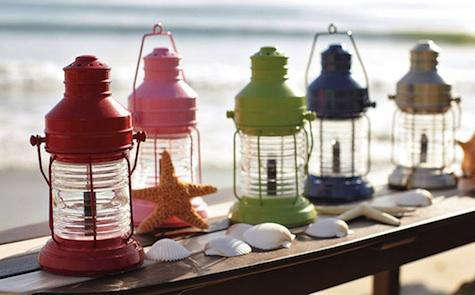 new at pottery barn kids the iron mini lantern with a ribbed glass jar the lantern is available in five colors as shown and stands 105