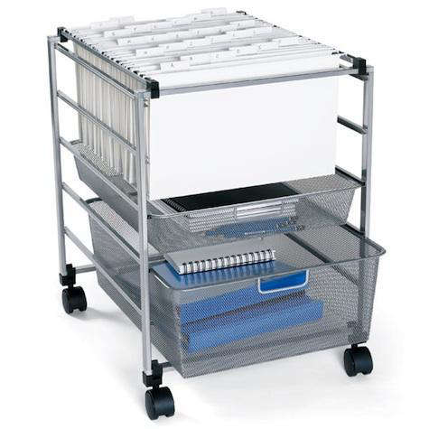 Above Keep essential items close at hand with the utilitarian Platinum Elfa Mesh File Cart crafted of steel; $99 at the Container Store.  sc 1 st  Remodelista & Furniture: Office Storage Carts on Wheels - Remodelista