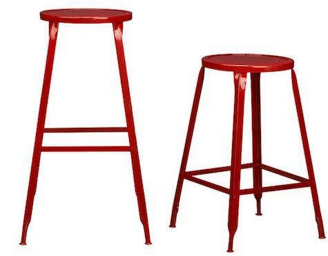 Magnificent Furniture Industrial Red Metal Stools Remodelista Machost Co Dining Chair Design Ideas Machostcouk