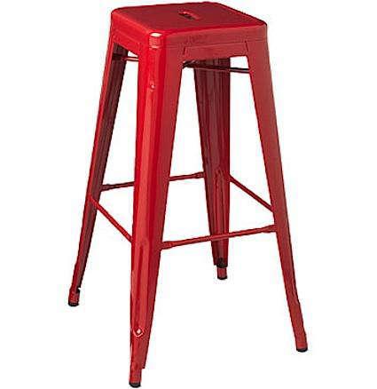 Furniture Industrial Red Metal Stools Remodelista