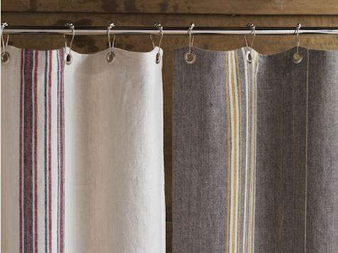 Above The 72 By 70 Inch Rustic Linen Shower Curtain Is Available In Natural With Red And Indigo Stripes Or Gray Mustard Ivory For 180