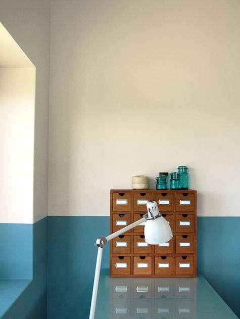 Above: A Half Painted Deep Blue Wall In An Artistu0027s Studio, Via Geninne.