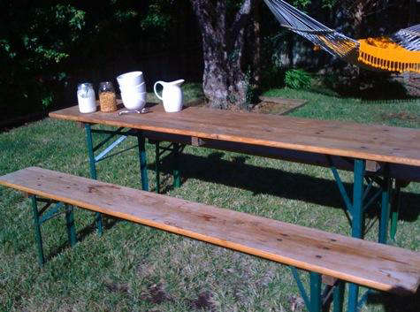 Biergarten Folding Wood Table and Bench Set