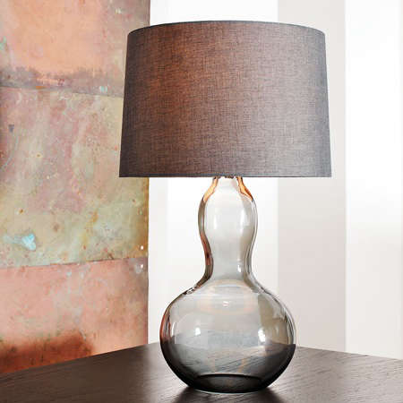 New at West Elm: the Gourd Table Lamp, available with either a charcoal  tinted glass or luster glass base; $149. - Lighting: West Elm Gourd Lamp - Remodelista