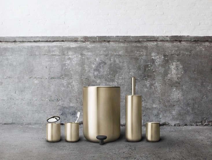 The modern bath new essentials from copenhagen remodelista for Gold bathroom bin