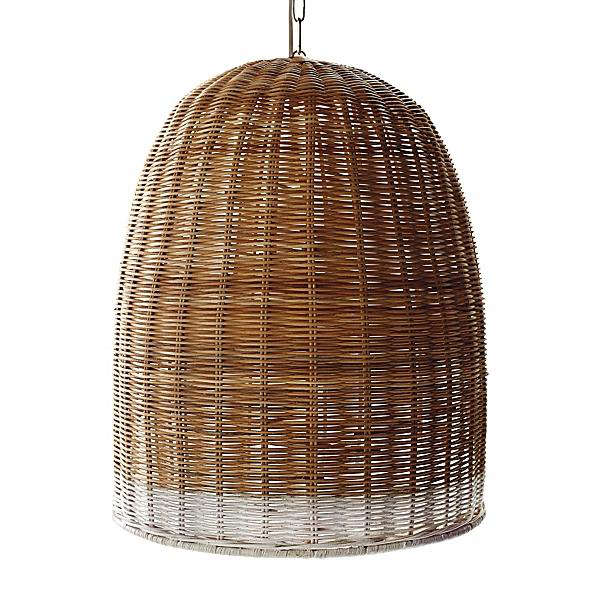 Above The Basket Weave Pendant Lamp 22 Inches High Made From Rattan With An Iron Frame Is 798 Anthropologie