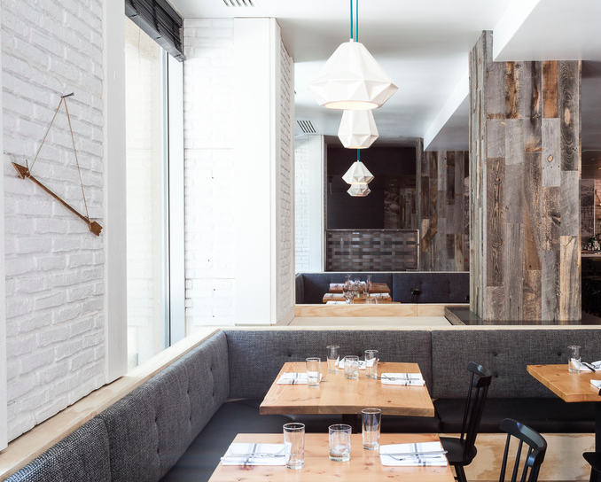 Above Designers Amy Aswell And K J Singh Of Beta Form Industries Created A Rough Hewn Look In Their Interiors For Hock Farm Restaurant Using Stikwood S