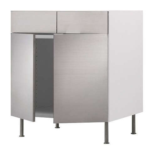 Akurum Base Cabinet Faced With Rubrik Stainless Steel