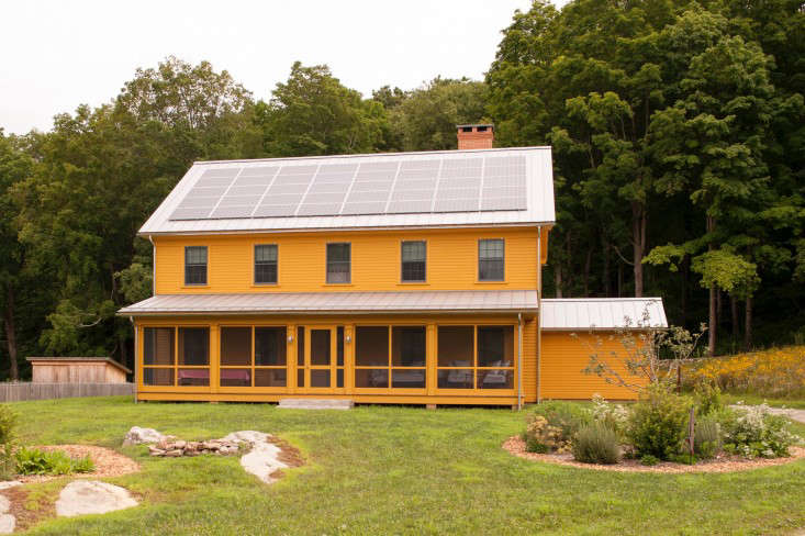 Solar panels on a new farmhouse in Connecticut by Remodelista Architect and Designer Directory member Rafe Churchill. For more, seeThe Architect Is In: The New Connecticut Farm, Sustainable Edition.