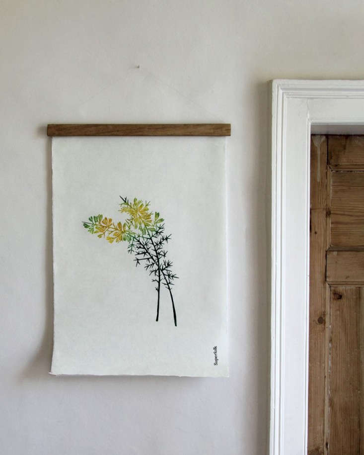 A print of the shrub Gorse, native to Ireland, by Irish design studio Superfolk hangs beside a doorway. SeeFavorite Botanical Illustrations: Our 10 Best Sources for Vintage and New over on Gardenista.