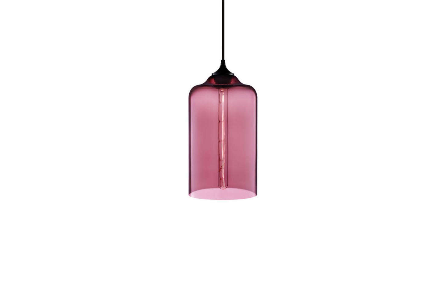 Niche's Bella Pendant designed by Jeremy Pyles comes in seven colors, including rose (shown); $800 from Niche.
