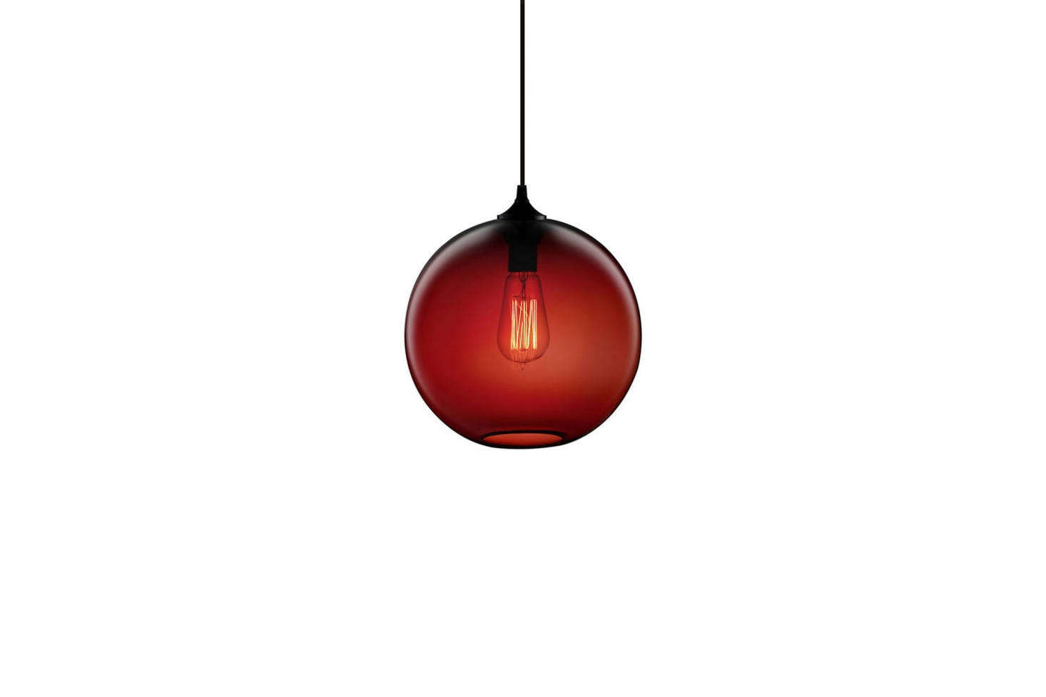 One of our go-to glass globe lights: Niche's Solitaire Pendant comes in crimson (shown) and nine other colors; prices start at $531.25 from Lumens.