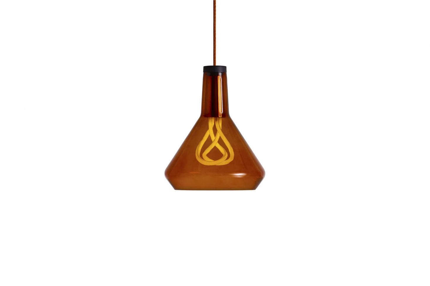 The Plumen Drop Top Pendant comes in amber (shown), black, and white glass; $161.50 to $170 at Lumens. For more, see Naked No More: Lampshades for Plumen Bulbs.