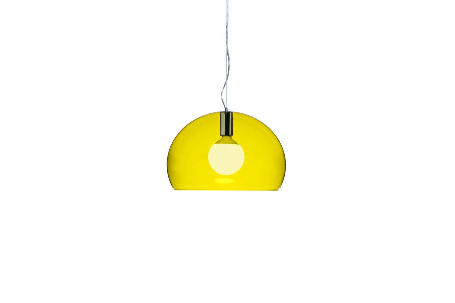 The Small Fl/y Suspension Lamp is the look of glass (methacrylate) for less and comes in 13 colors—shown in Transparent Yellow—for $267.75 at Hive. The full-size Fl/y Suspension Lamp is $301.75 also at Hive.