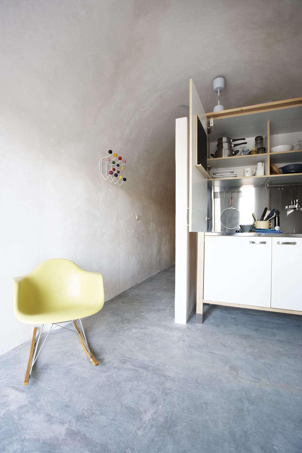 A kitchen tucked away in an Ikea unit atMasseria Alchimiain Puglia.