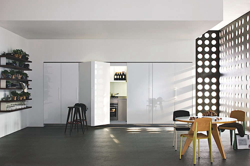 Great The Tivali Kitchen From Dada In Italy Is Tucked Behind Folding Doors.