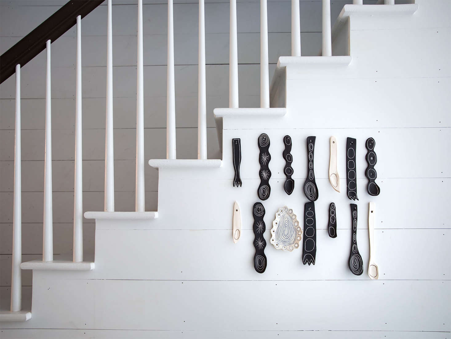Ceramic serving utensils–which look something like pieces from a children&#8
