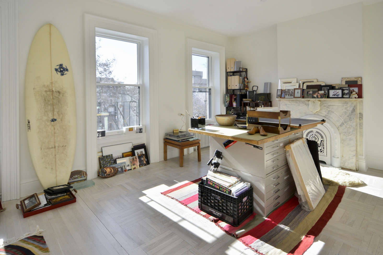 Architects Gregory Merkel and Catalina Rojas's top floor workroom in their remodeled Brooklyn townhouse | Remodelista