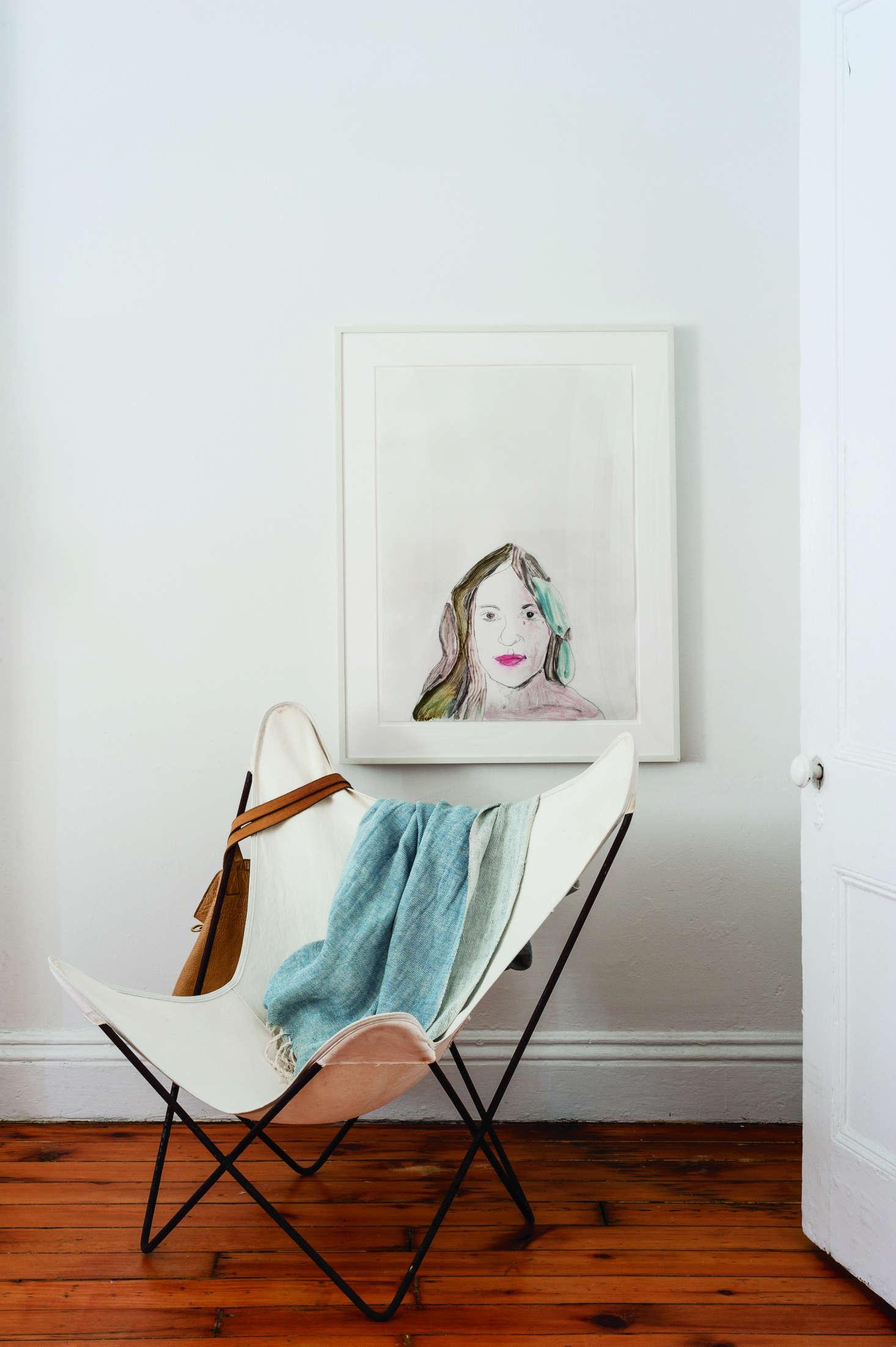 Butterfly chair in designer Corinne Gilbert's bedroom | Remodelista