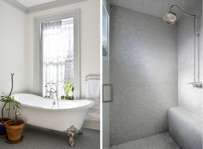 Claw-footed bathtub and rain shower in a Brooklyn master bath by architects Gregory Merkel and Catalina Rojas | Remodelista