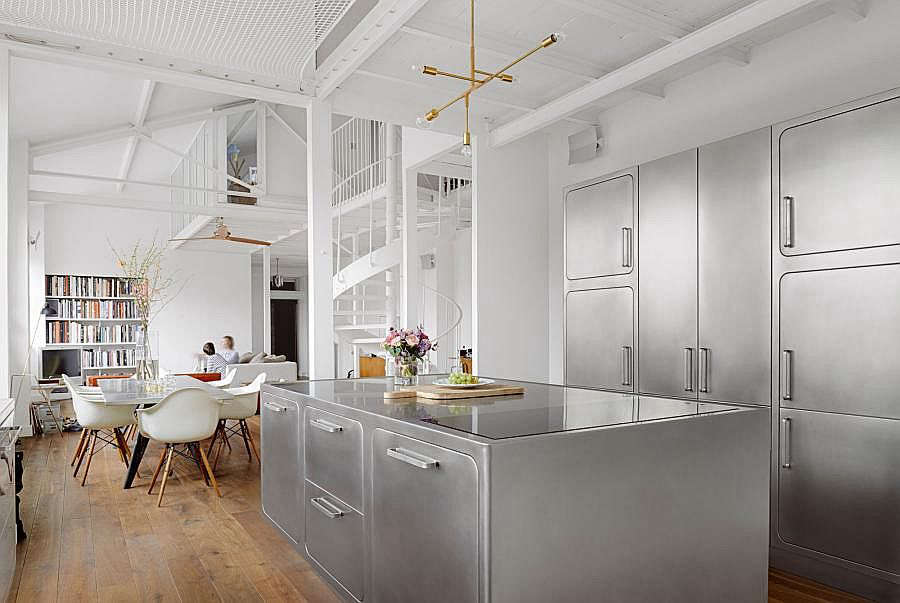 Kitchen of the Week An All Stainless Design in a Paris Loft