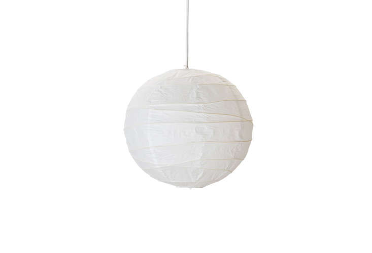 Ban bought his white Spherical Paper Lantern($9.50 for the 24-inch size) at Pearl River Mart in NYC, but it's currently out of stock. Instead, try Ikea's smaller Regolit lantern; $4.99.