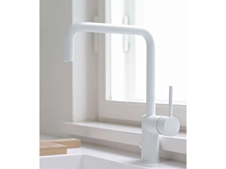 White Kitchen Faucet vola kv8 single handle kitchen faucet