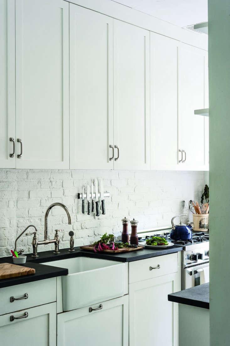 Co co contact paper backsplash - Ann Desaussure Davidson Brooklyn Gallery Kitchen Remodelista 733x1101
