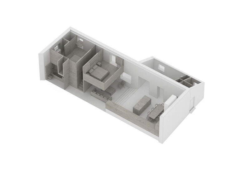 McLaren Excell's schematic details the new arrangement: On the ground floor, a kitchen-dining area (with office/TV room off it) leads to the living room plustwo bedrooms, a bath, and powder room. The newly created upstairs is composed of a bedroom and bath.