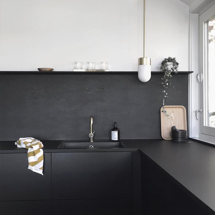 Nina Holst Stylizimo Kitchen DIY Black Backsplash Remodelista