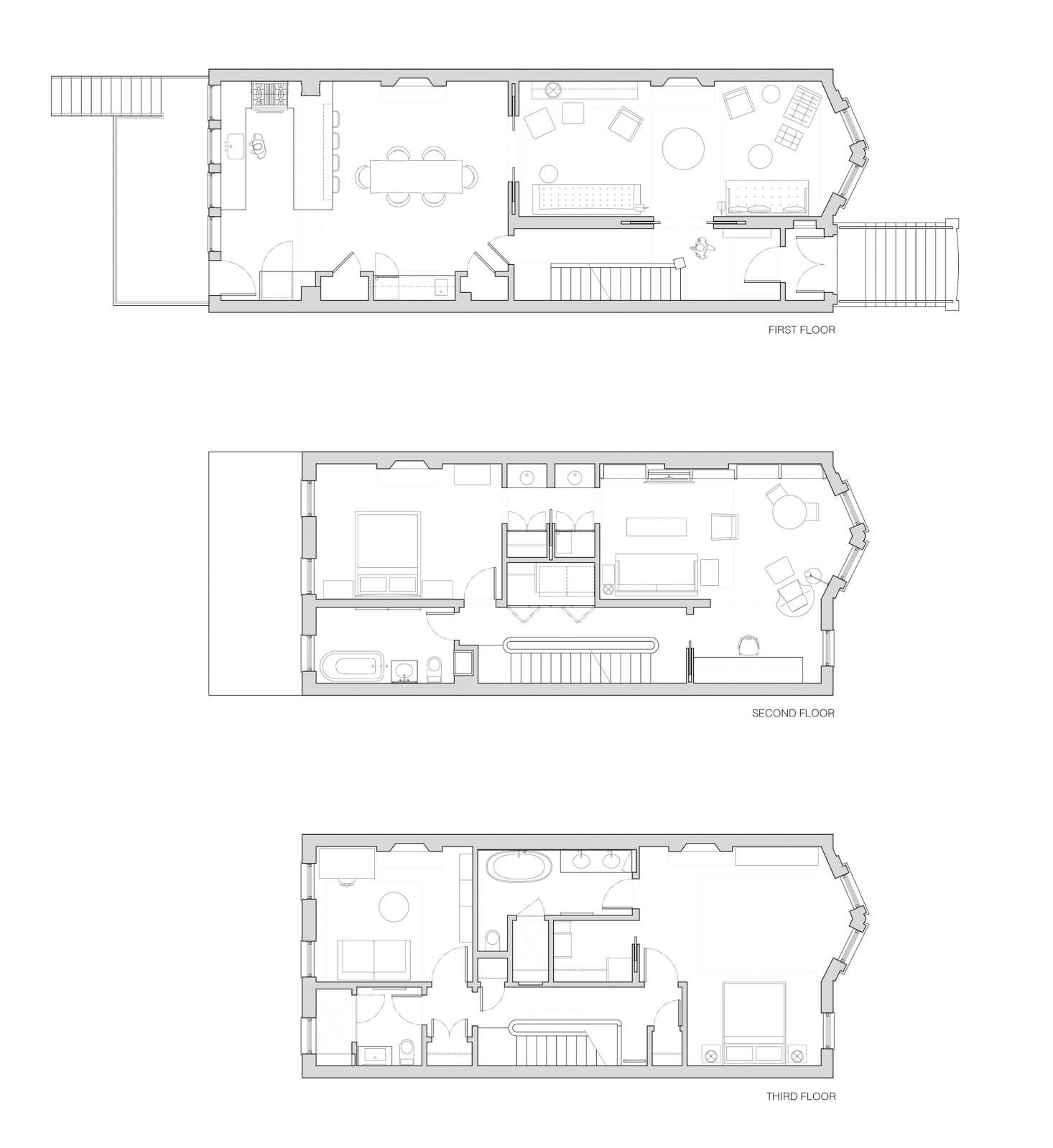 Brooklyn Prospect Heights townhouse floor plans by Bangia Agostinho Architecture | Remodelista