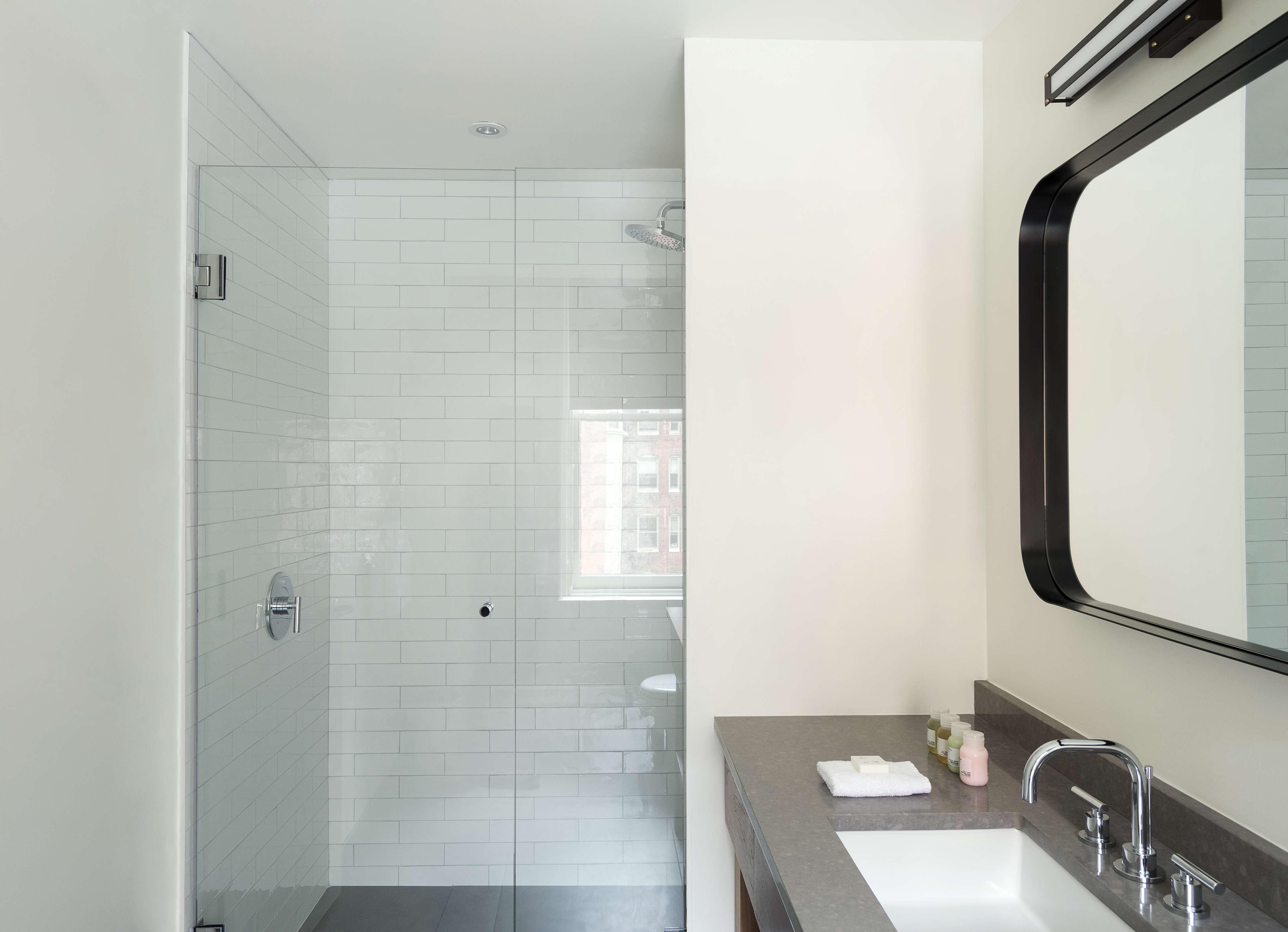 Inspirational Above Bathroom amenities are from Italian brand Davines