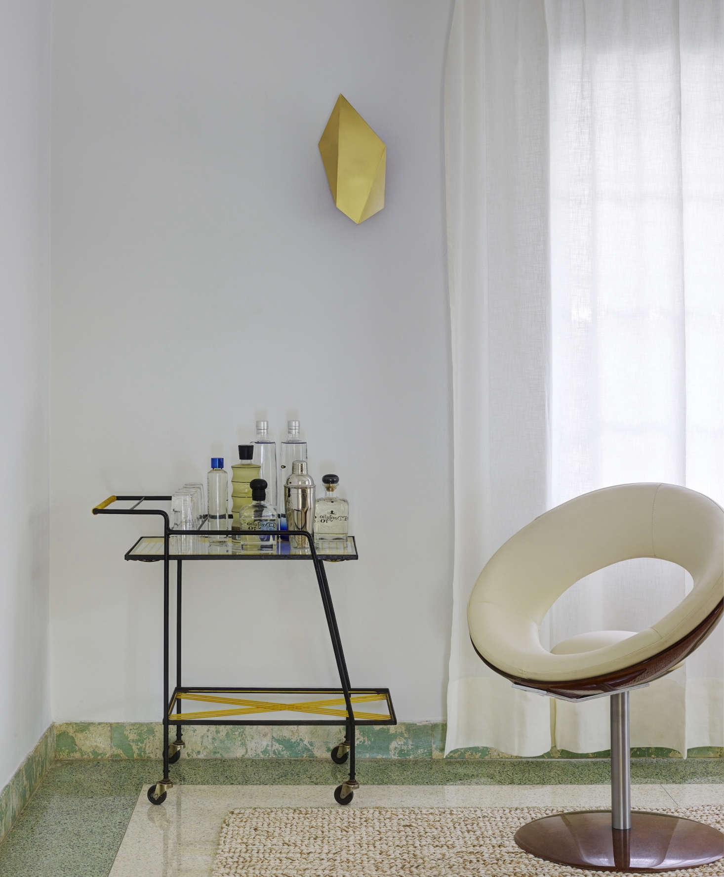 Bar Cart In A Revived 1932 Miami Villa Belonging To Contemporary Furniture Dealer Stephan Weishaupt Of