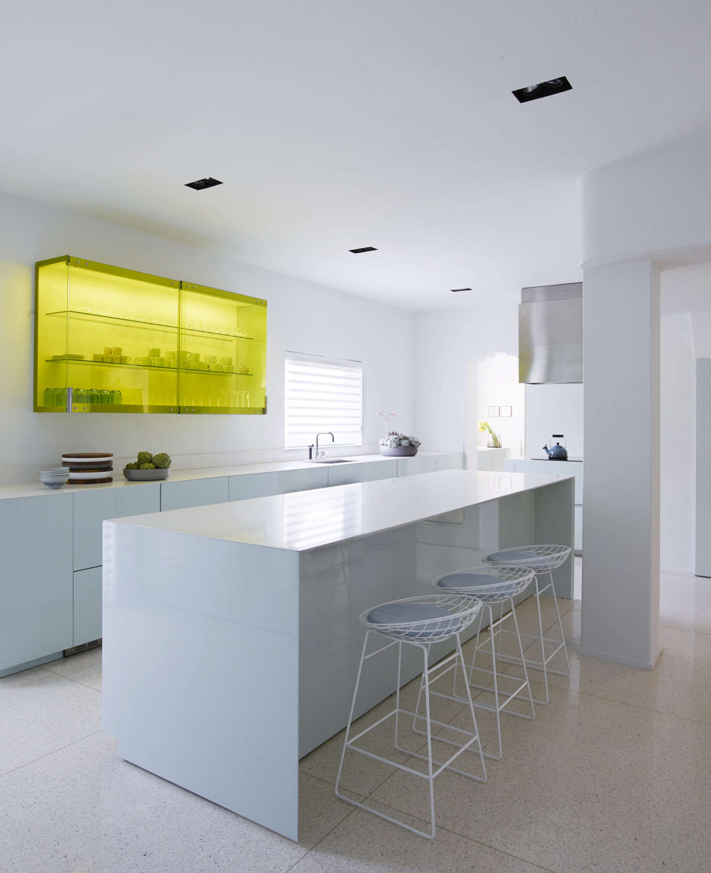 Awesome Minimalist contemporary kitchen in a revived Miami villa belonging to contemporary furniture dealer Stephan Weishaupt