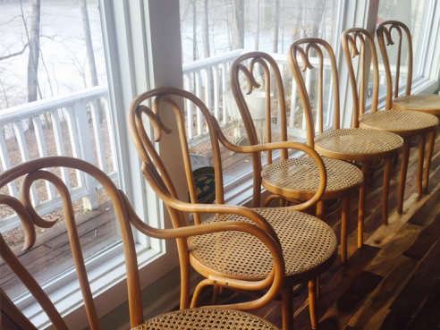 Vintage Thonet Bentwood Cane Arm Chairs   Pair