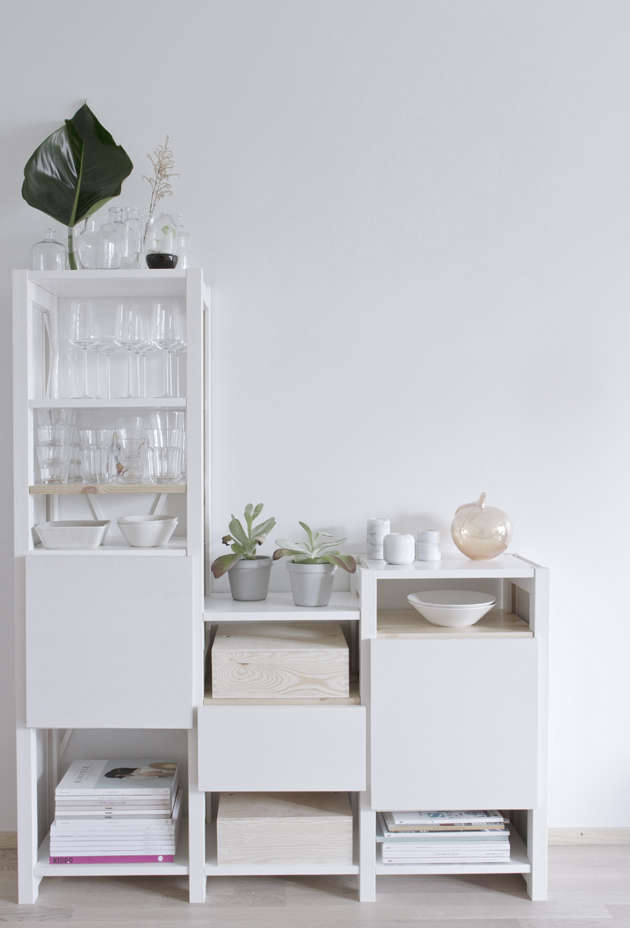 """Modular multi-height shelves by Lundia—""""a really nice Finnish brand""""—offer open and closed storage."""