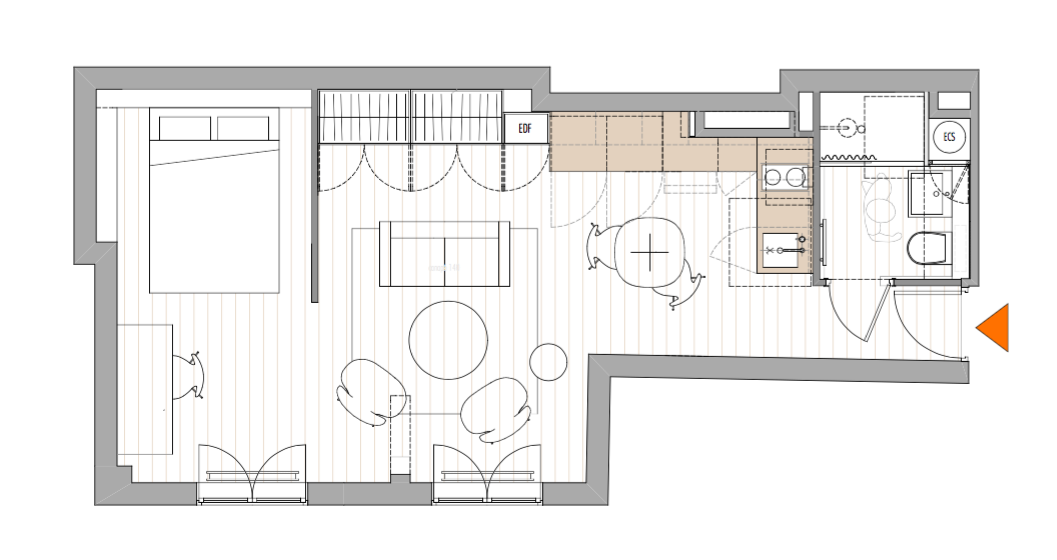 Two room apartmentt floor plan by philippe harden for montparnasse pied a terre