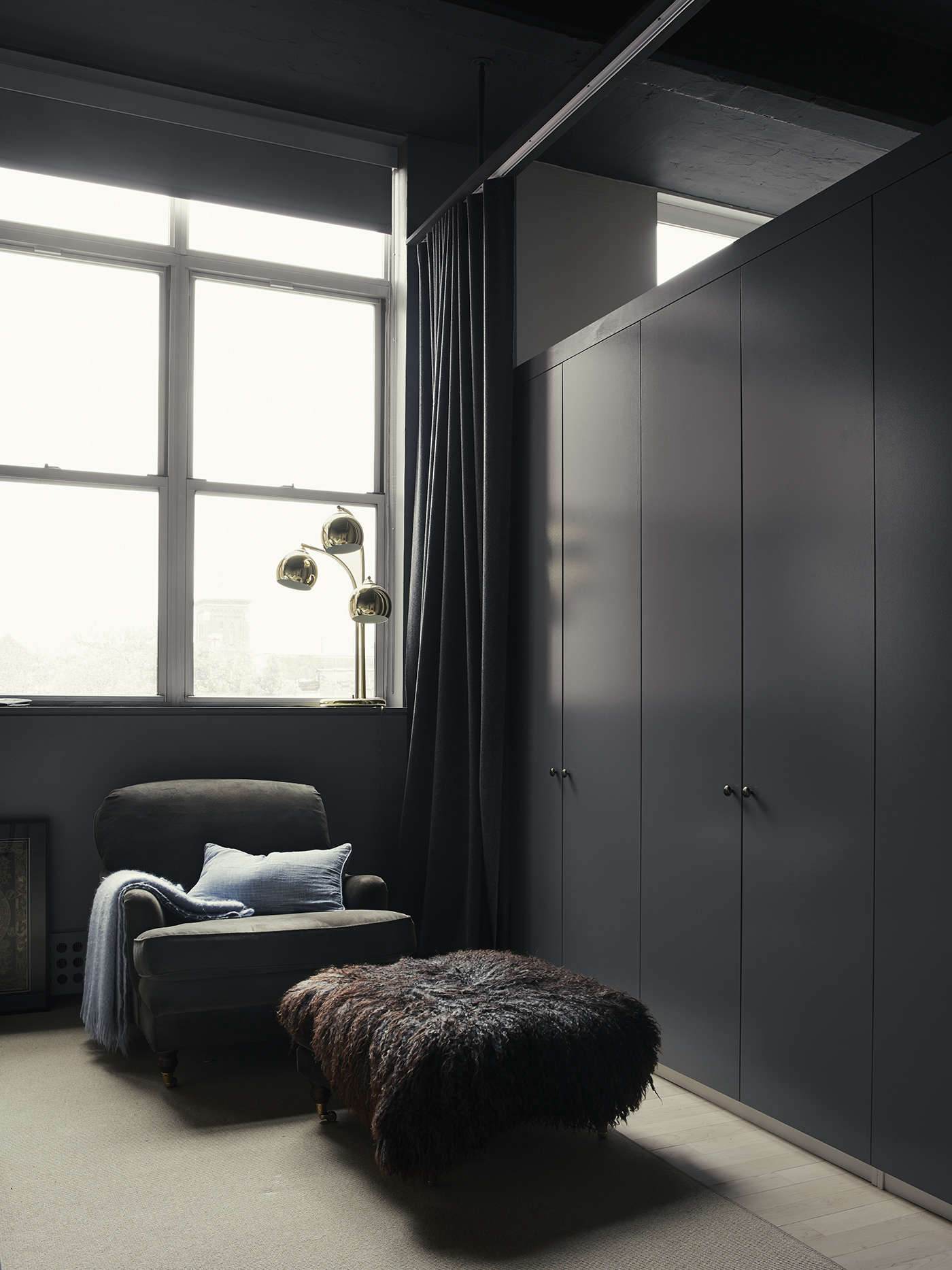 Built-in bedroom closets in photographer Pia Ulin's Brooklyn loft designed by Bangia Agostinho Architecture |Remodelista
