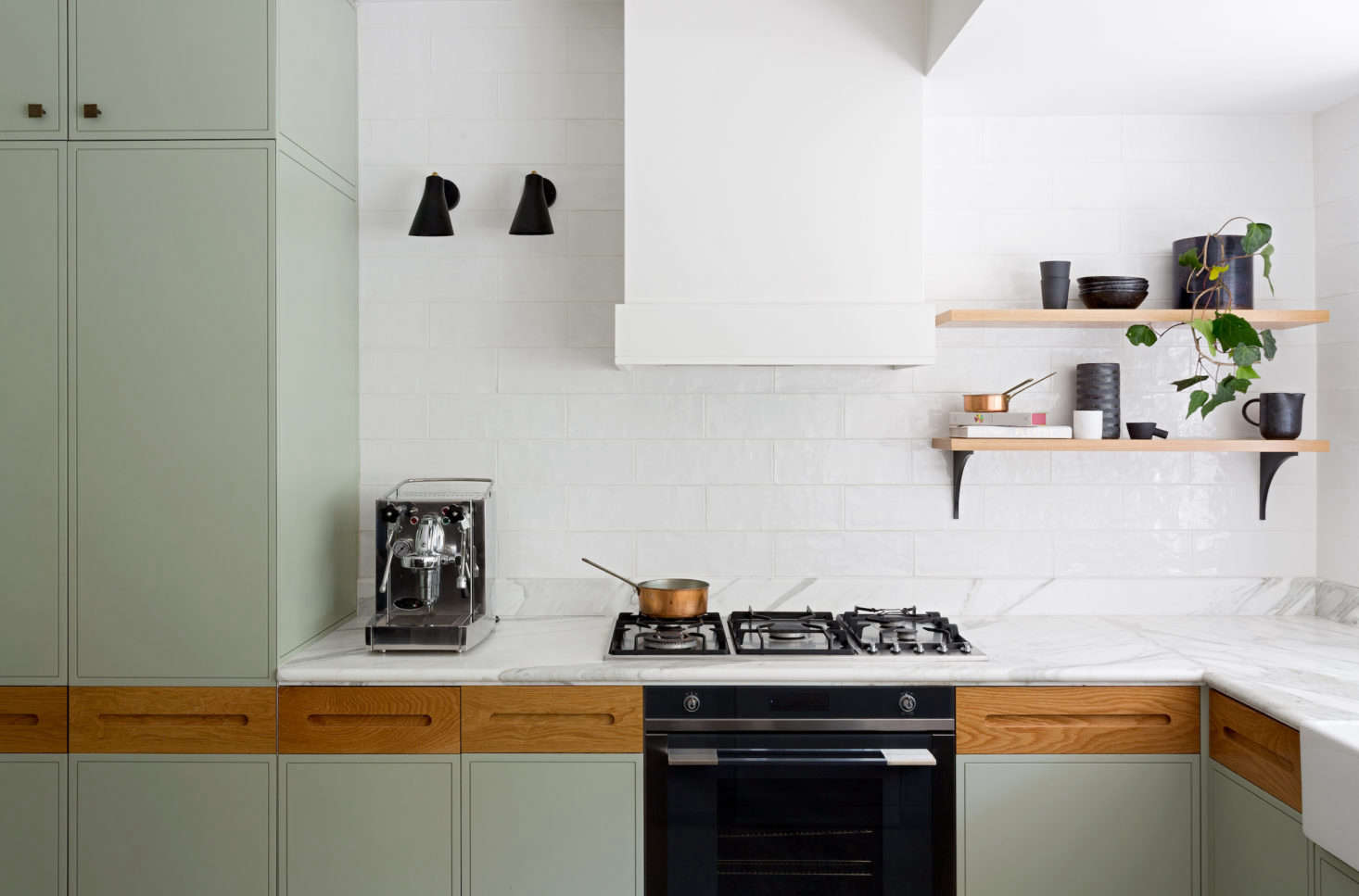 Marble counters in a kitchen designed by Sydney-based interior designers Juliette Arent and Sarah-Jane Pyke. Photograph from Kitchen of the Week: A Before/After Remodel in Sydney, Australia.