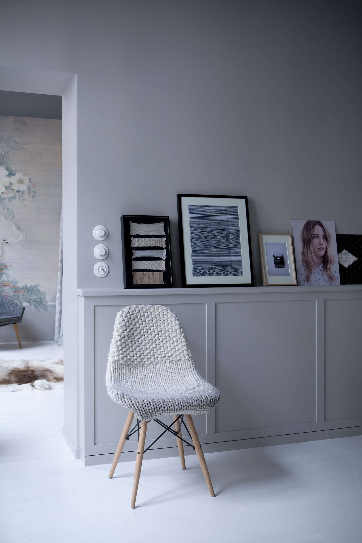 Eames side chair with knit slipcover at Chez Marie Sixtine, a guest apartment in Paris, Julie Ansiau photo   Remodelista