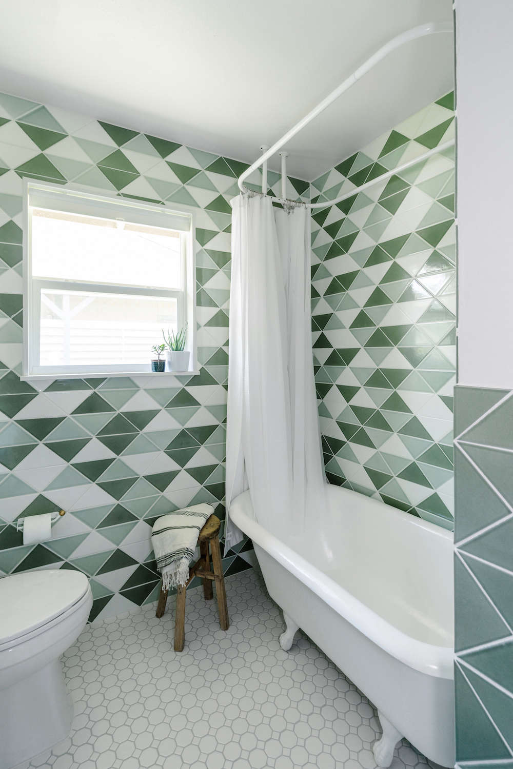 Before & After: Green Tiled Bathroom Conversion - Remodelista