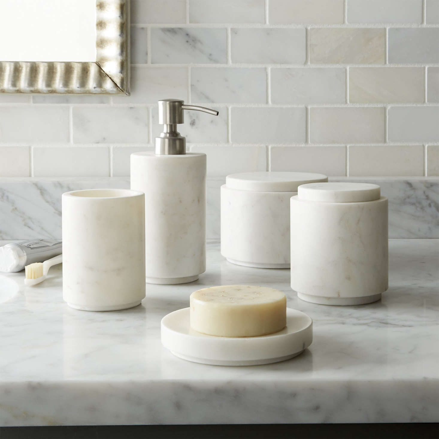 High Low Marble Bath Accessories Remodelista