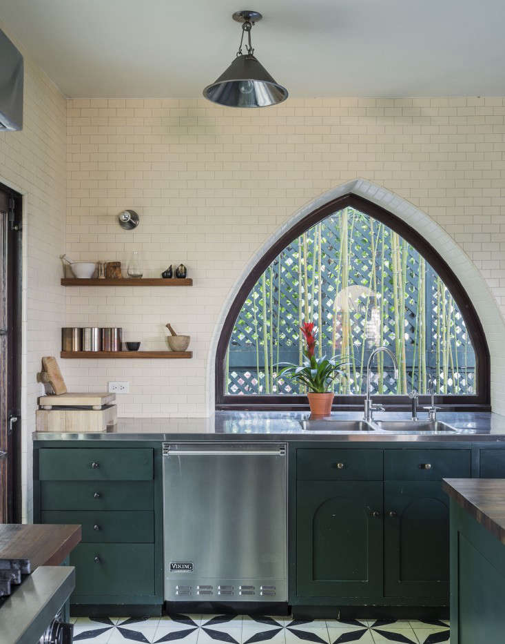 For the kitchen cabinetry in the Los Feliz home of Commune cofounder Ramin Shamshiri, the designer and his sister Pamela mixed 17 paint samples from Fine Paints of Europe to match the depth of a green door the pair spotted in the Netherlands. See more in Steal This Look: An Exotic Tiled Kitchen by LA Design Firm Commune. Photograph by Matthew Williams for Remodelista.