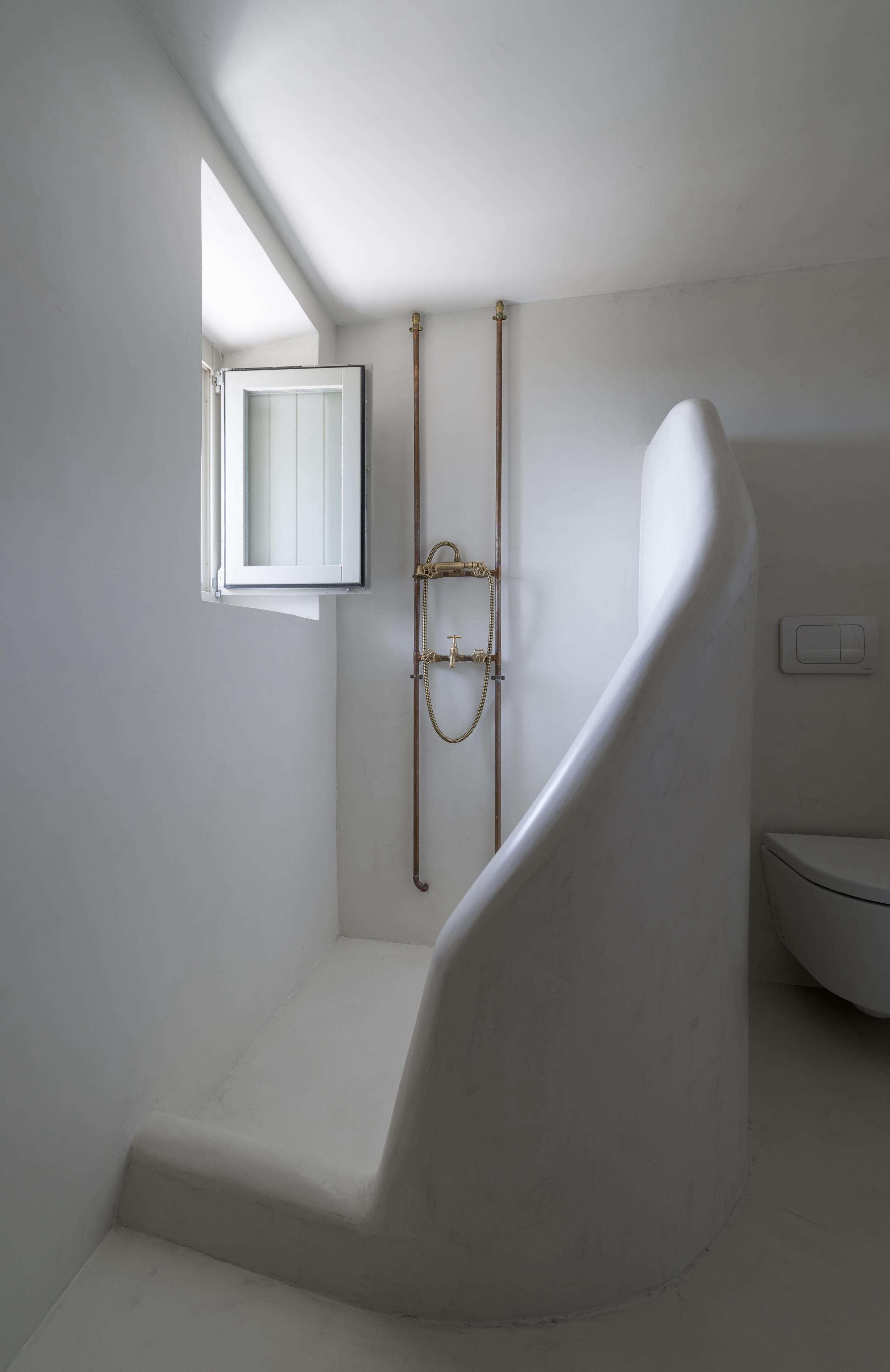 Above A Shower Designed By Greg Haji Joannides At The Sterna Residence On Greek Island Of Nisyros Working With Local