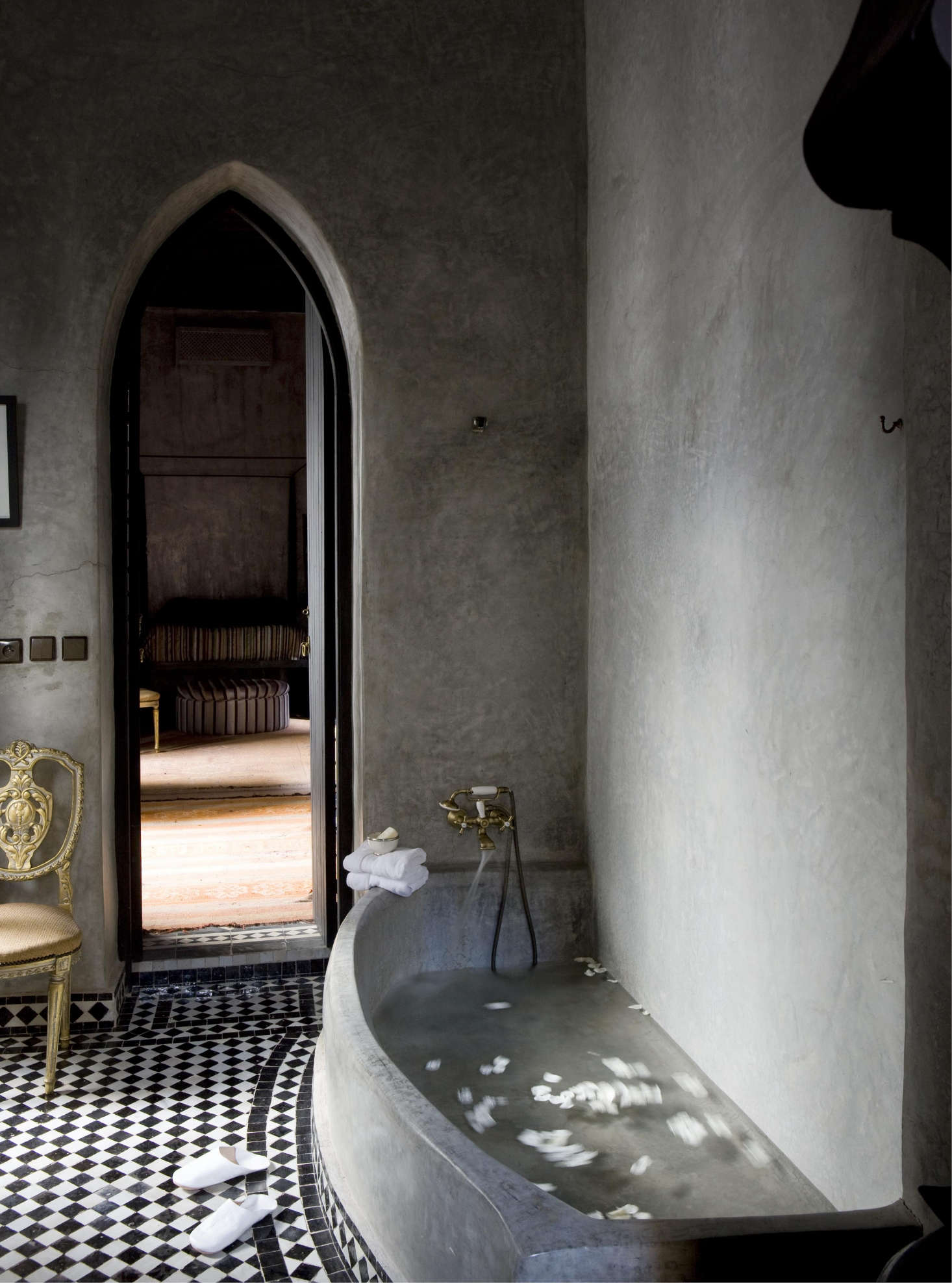 A Dark Gray Tadelakt Bath At The Dar Darma Riad In Marrakech See More Like