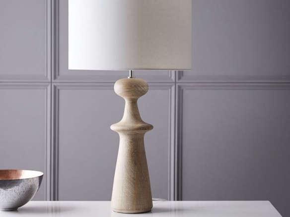 Turned wood table lamp tall