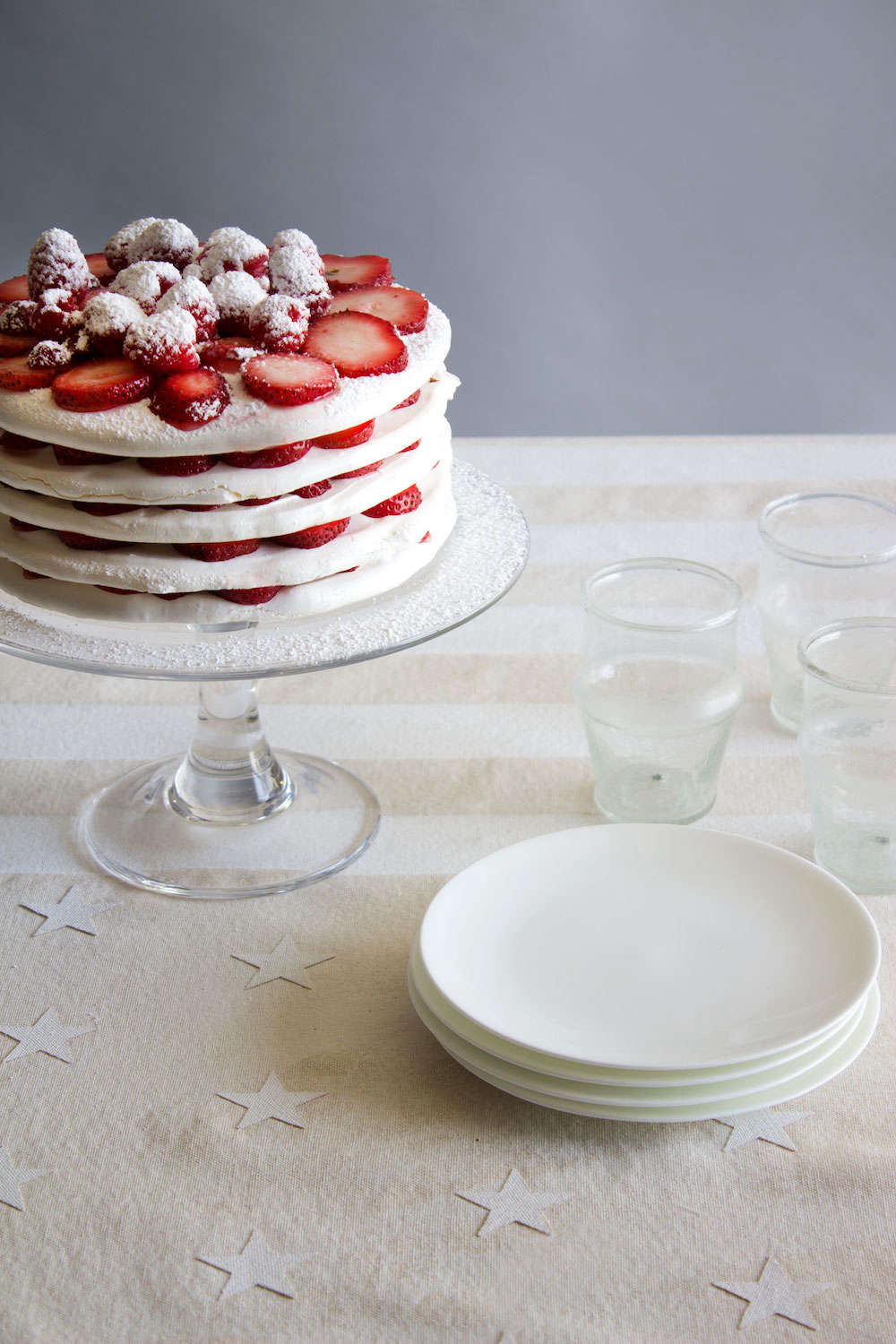 David's Fourth of July table witha strawberry meringue cake by theFashion Chefin Brooklyn.
